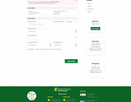 Customer Bill Pay | Eastern Propane Website Design