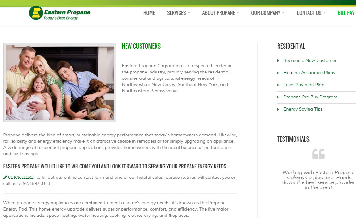 Eastern Propane Website