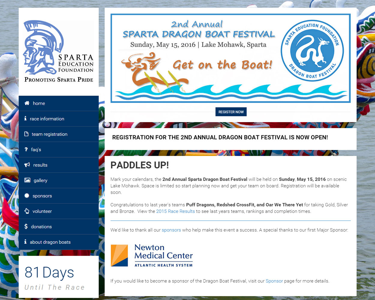 Sparta Dragon Boat Website